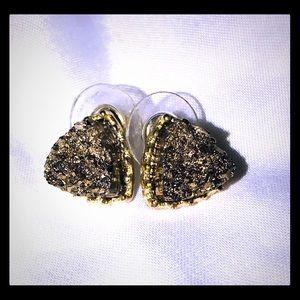Druzy stud earrings in gold